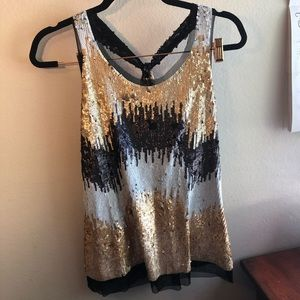 Black white and gold sequin top